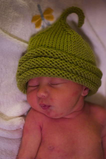 Baby Nat in a cute little Sprout Hat