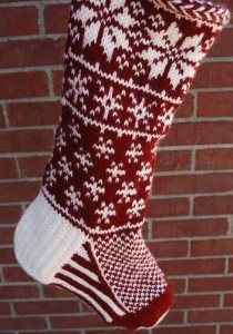 Falling Snow Stocking by Jennifer Hoel